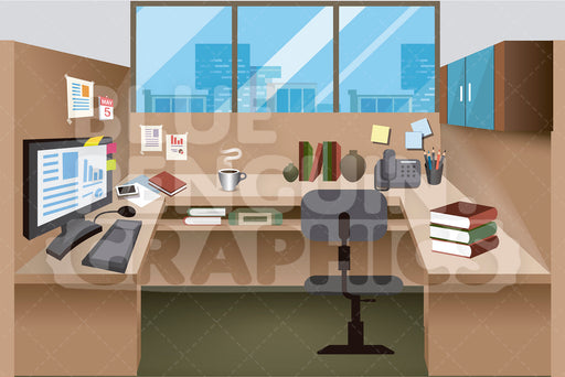 Office Desk Background Clipart - Blue Penguin Graphics