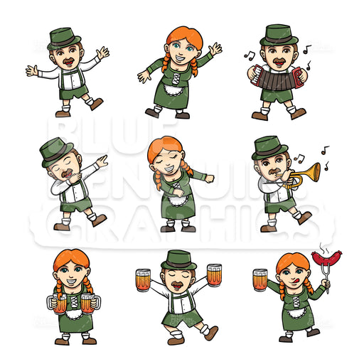 Oktoberfest Bundle Set Vector Cartoon Clipart - Blue Penguin Graphics