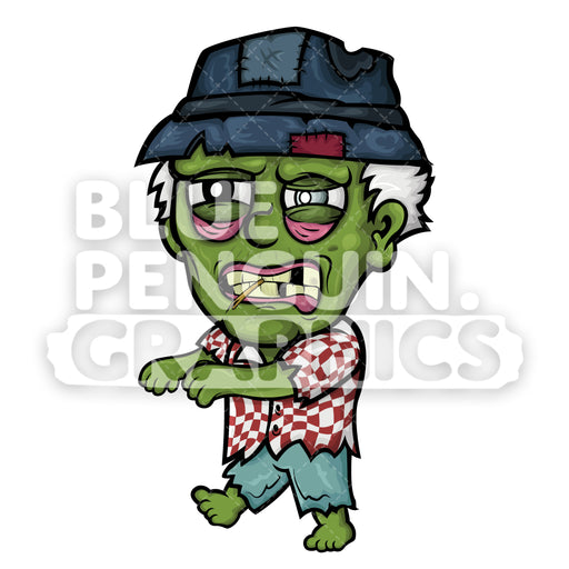 Old Farmer Zombie Walking Vector Cartoon Clipart - Blue Penguin Graphics