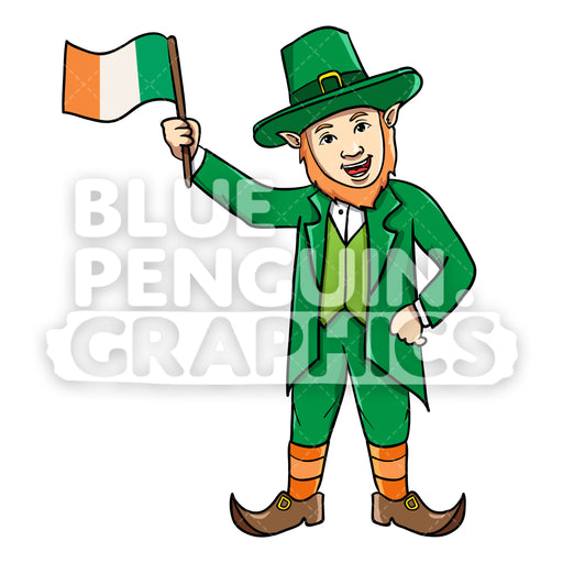 Leprechaun Bringing Irish Flag Vector Cartoon Clipart Illustration - Blue Penguin Graphics