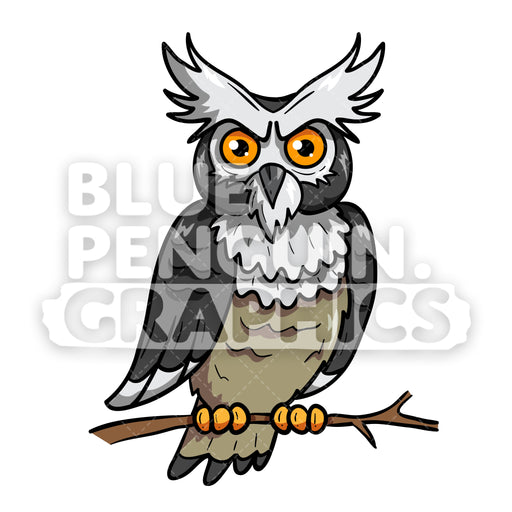 Owl Scary Vector Cartoon Clipart Illustration - Blue Penguin Graphics