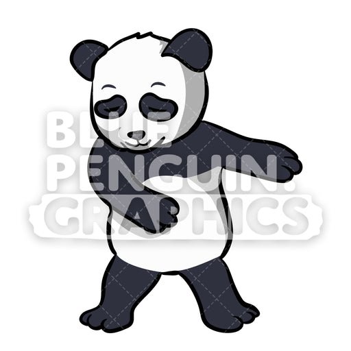 Panda Floss Dance Vector Cartoon Clipart Illustration - Blue Penguin Graphics