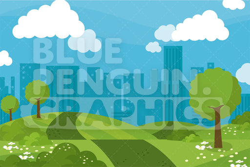 City Park Landscape Graphic Background Clipart - Blue Penguin Graphics
