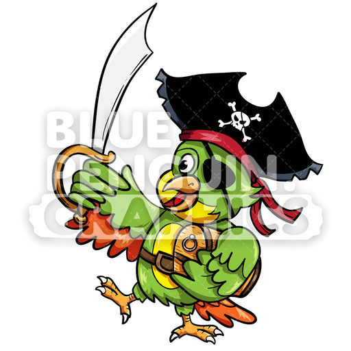 Parrot Pirate with a Sharp Sword Vector Cartoon Clipart Illustration - Blue Penguin Graphics