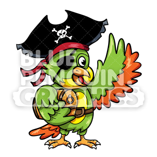 Parrot Pirate with Treasure Chest Vector Cartoon Clipart Illustration - Blue Penguin Graphics