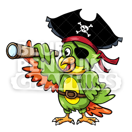 Parrot Pirate with Telescope Vector Cartoon Clipart Illustration - Blue Penguin Graphics