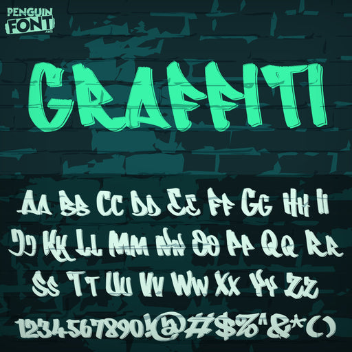 Penguin Graffiti Font - Blue Penguin Graphics
