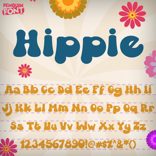 Penguin Hippie Font - Blue Penguin Graphics