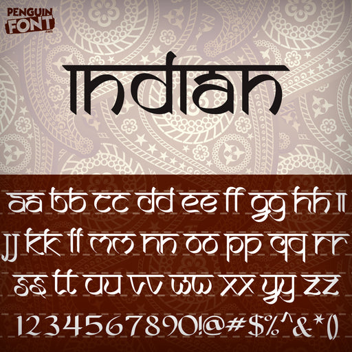 Penguin Indian Font - Blue Penguin Graphics