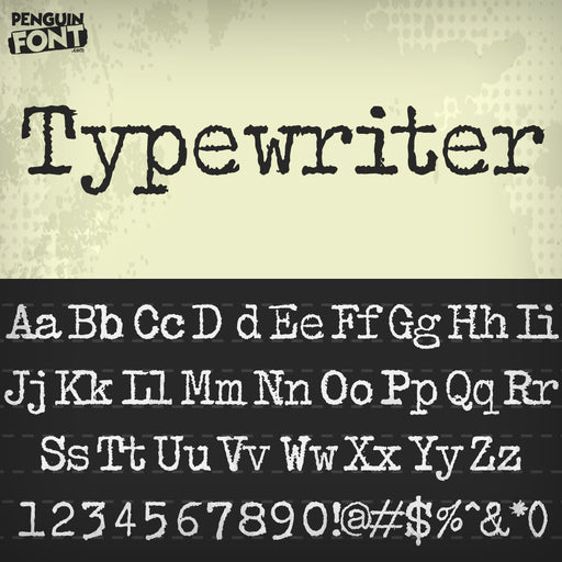 Penguin Typewriter Font - Blue Penguin Graphics