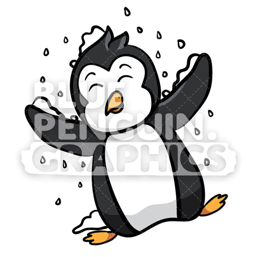 Penguin Playing with Snow Vector Cartoon Clipart Illustration - Blue Penguin Graphics