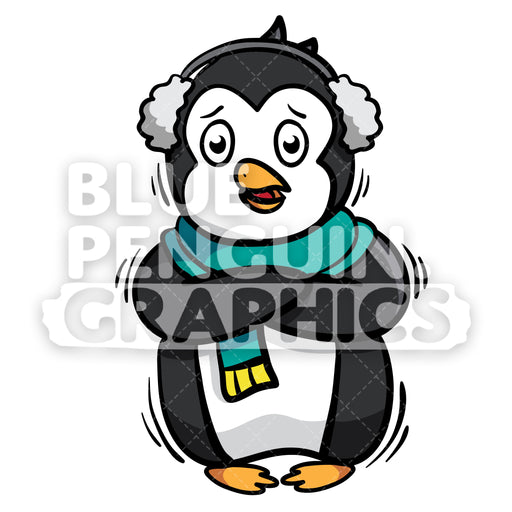 Penguin Feel So Cold Vector Cartoon Clipart Illustration - Blue Penguin Graphics