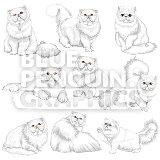 Persian Cat Bundle Set Vector Clipart - Blue Penguin Graphics