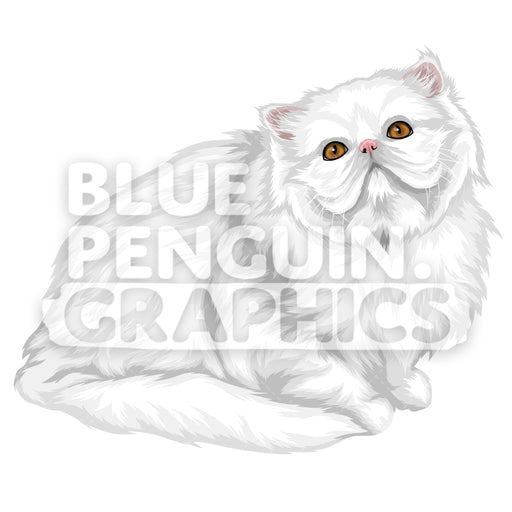 Persian Cat Version 7 Vector Clipart Illustration - Blue Penguin Graphics