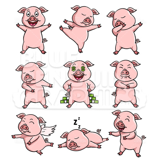 Pig Bundle Set Vector Cartoon Clipart Illustration - Blue Penguin Graphics