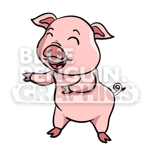 Pig Dancing Vector Cartoon Clipart Illustration - Blue Penguin Graphics
