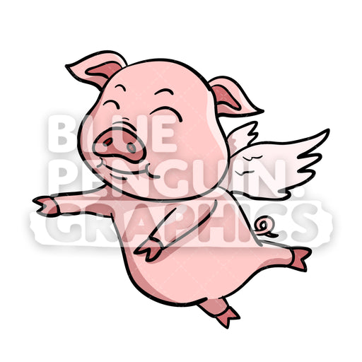 Pig Flying Vector Cartoon Clipart Illustration - Blue Penguin Graphics