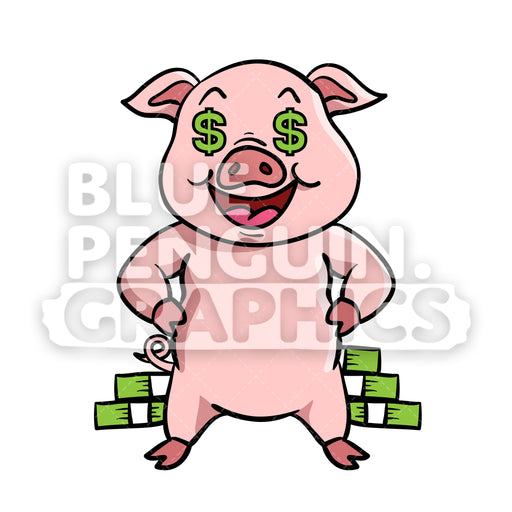 Pig Rich Vector Cartoon Clipart Illustration - Blue Penguin Graphics