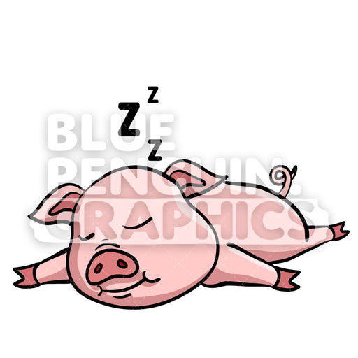 Pig Sleeping Vector Cartoon Clipart Illustration - Blue Penguin Graphics