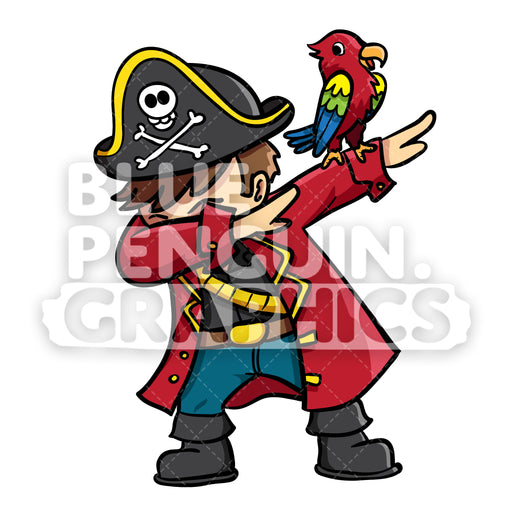 Pirate Dabbing Vector Cartoon Clipart Illustration - Blue Penguin Graphics