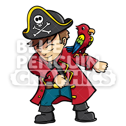 Pirate Floss Vector Cartoon Clipart Illustration - Blue Penguin Graphics