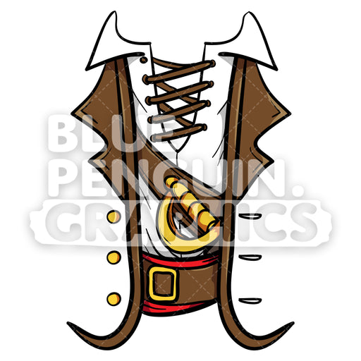 Pirate Shirt Vector Cartoon Clipart Illustration - Blue Penguin Graphics