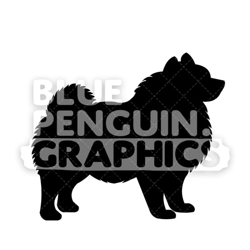 Pomeranian Silhouettes Vector Cartoon Clipart Illustration - Blue Penguin Graphics