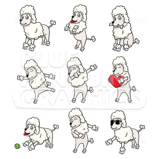 Poodle Bundle Set Vector Cartoon Clipart Illustration - Blue Penguin Graphics