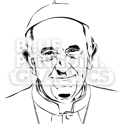 Pope Francis Face Silhouette - Blue Penguin Graphics
