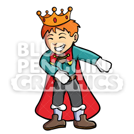 Prince Floss Dance Vector Cartoon Clipart Illustration - Blue Penguin Graphics