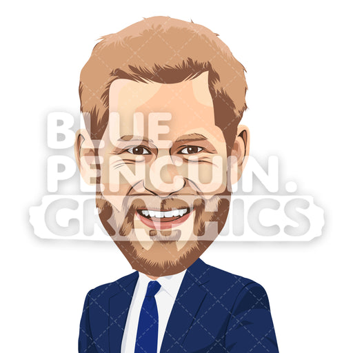 Prince Harry Vector Cartoon Clipart Illustration - Blue Penguin Graphics