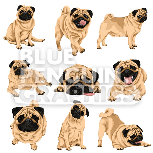 Pug Dog Bundle Set Vector Clipart - Blue Penguin Graphics