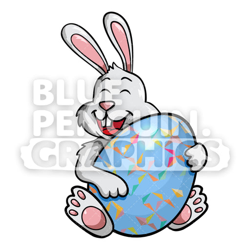 Rabbit Hug Egg Vector Cartoon Clipart Illustration - Blue Penguin Graphics