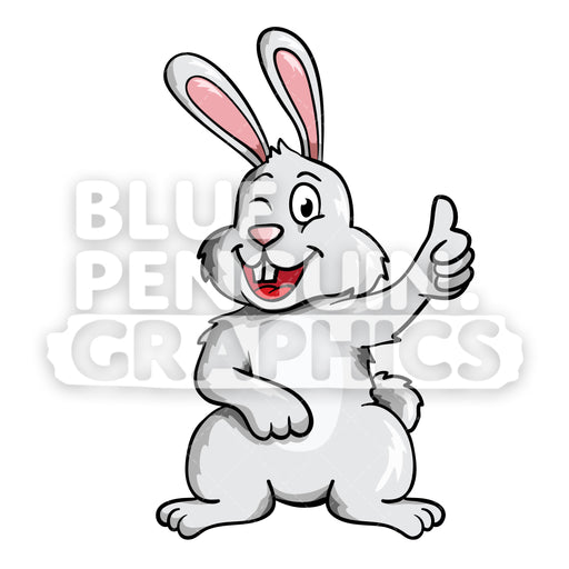 Rabbit Winking Cute Vector Cartoon Clipart Illustration - Blue Penguin Graphics