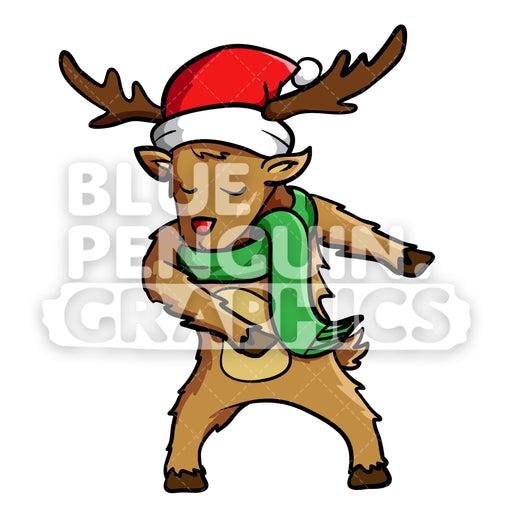 Reindeer Floss Dance Vector Cartoon Clipart Illustration - Blue Penguin Graphics