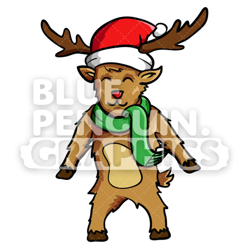 Reindeer Standing Christmas Vector Cartoon Clipart Illustration - Blue Penguin Graphics