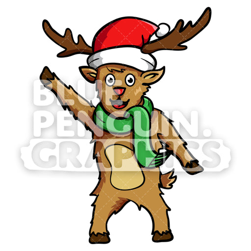 Reindeer Waving Christmas Vector Cartoon Clipart Illustration - Blue Penguin Graphics