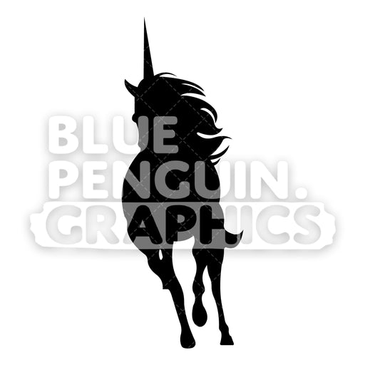 Running Unicorn From Front Silhouettes Vector Cartoon Clipart Illustration - Blue Penguin Graphics