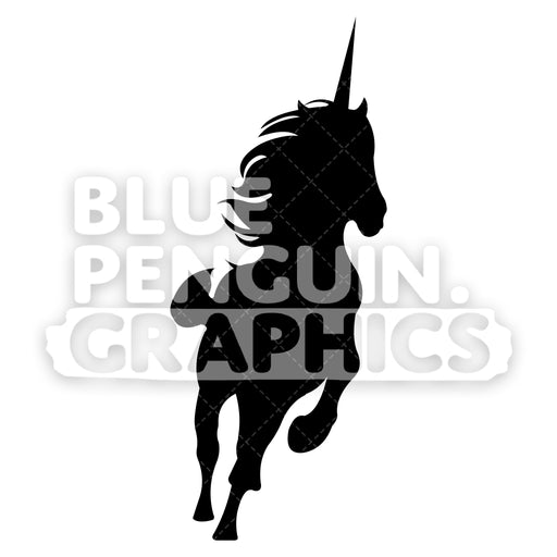Running Unicorn From Left Side Silhouettes Vector Cartoon Clipart Illustration - Blue Penguin Graphics