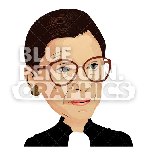 Ruth Bader Ginsburg Vector Cartoon Clipart Illustration - Blue Penguin Graphics