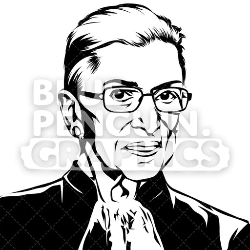 Justice Ruth Bader Ginsburg Silhouette - Blue Penguin Graphics
