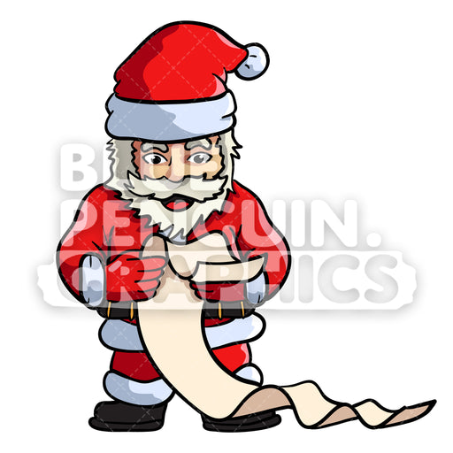 Santa Reading Gift List Vector Cartoon Clipart Illustration - Blue Penguin Graphics