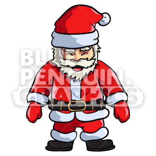 Santa Standing Vector Cartoon Clipart Illustration - Blue Penguin Graphics