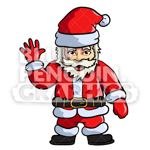 Santa Waving Christmas Vector Cartoon Clipart Illustration - Blue Penguin Graphics