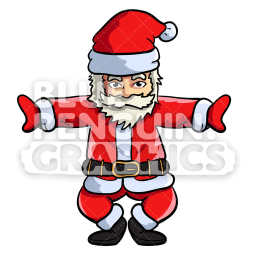Santa Yoga version 10 Christmas Vector Cartoon Clipart Illustration - Blue Penguin Graphics