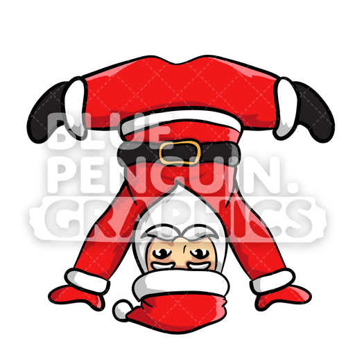 Santa Yoga version 4 Christmas Vector Cartoon Clipart Illustration - Blue Penguin Graphics