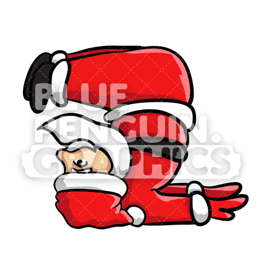 Santa Yoga version 6 Christmas Vector Cartoon Clipart Illustration - Blue Penguin Graphics