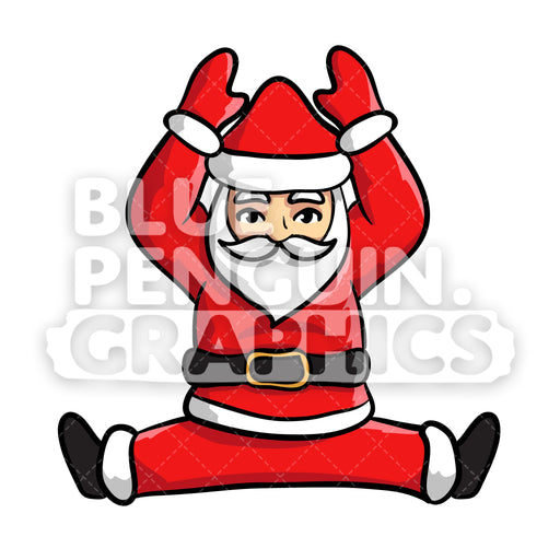 Santa Yoga version 7 Christmas Vector Cartoon Clipart Illustration - Blue Penguin Graphics