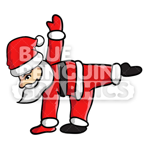 Santa Yoga version 8 Christmas Vector Cartoon Clipart Illustration - Blue Penguin Graphics