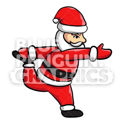 Santa Yoga version 9 Christmas Vector Cartoon Clipart Illustration - Blue Penguin Graphics